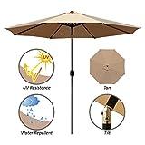 ABBLE Outdoor Patio Umbrella 9 Ft with Tilt and Crank, Weather Resistant, UV Protective Umbrella, Durable, 8 Sturdy Steel Ribs, Market Outdoor Table Umbrella, Tan