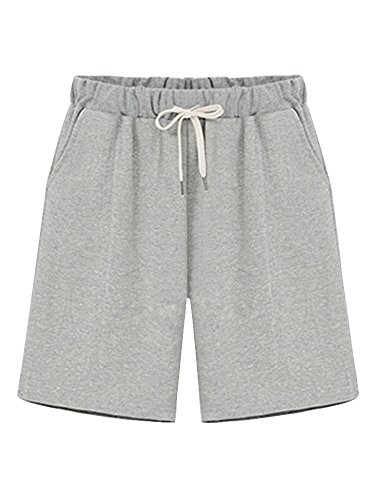 Womens Brushed Jersey Shorts - OCHENTA Women's Soft Knit Elastic Waist Jersey Shorts With Drawstring Grey US 18 - Tag 6XL