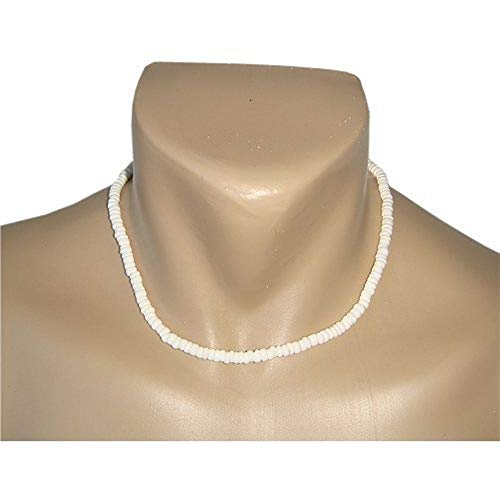 - 18 Inch Pure White Surfer Puka Shell Necklace