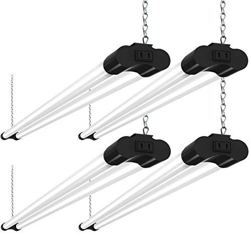 Bbounder 4 Pack Linkable LED Utility Shop Light, 4 FT, 48 Inch Integrated Fixture for Garage, 36W Equivalent 250W, 5000K Daylight, Surface + Suspension Mount, Black