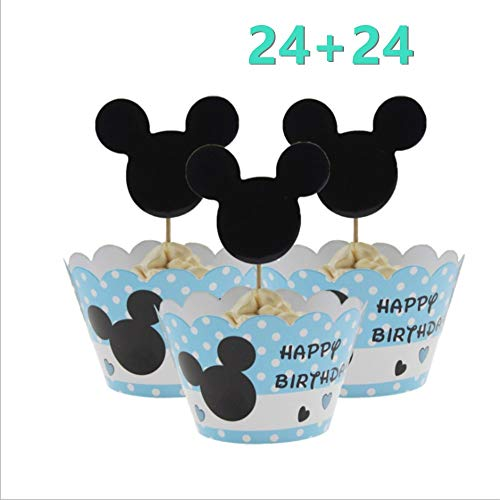 Mickey Mouse Minnie Cupcake Toppers and Wrappers Kids Party Cake Decorations Set of 24]()