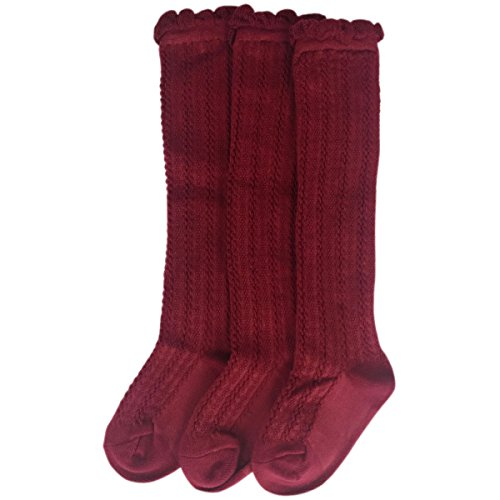 Jastore 5 Pairs/3 Pairs Unisex Baby Girl Boy Lace Stocking Knit Knee High Cotton Socks (6-15 Months, Wine Red-3 -