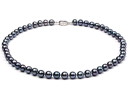 JYX 7-8mm Round Black Freshwater Pearl Necklace--AAA Quality