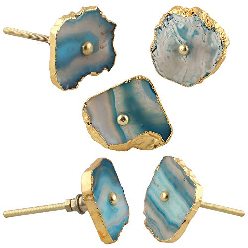 IndianShelf Handmade 6 Piece Stone Turquoise Agate Artistic Rust Free Knobs for Drawer Dresser Vintage Handle