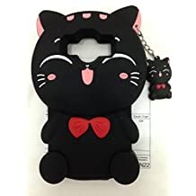 Cute 3D Cartoon Lovely Animal Design Soft Silicone Back Case Cover for Samsung (Galaxy Core Prime G360 J1Ace J1 Fortune Cat Black)