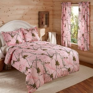 3pc Girl Realtree Pink Camouflage Queen Comforter Set (Bed Oak Girls Sets For Mossy)