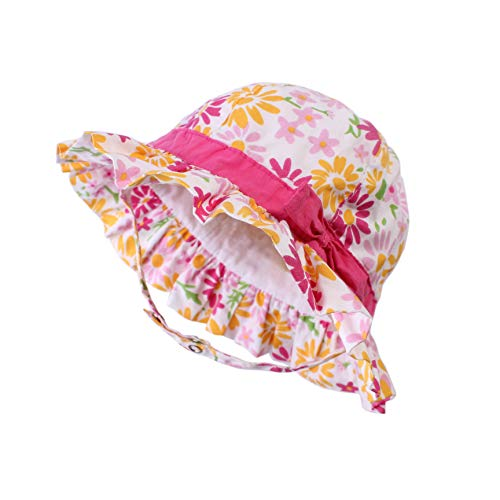 UPF Sun Hat for Baby Girls Adjustable Toddler Kids Sun Protection Hat Wide Brim Summer Play Hat with Chin Strap (Flowers, S: 6M-12M (48cm /18.9