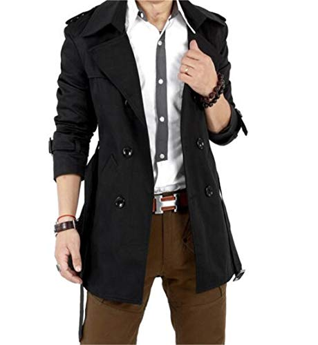 GESELLIE Mens Slim Double Breasted Trench Coat Belted Long Jacket Overcoat Outwear, US M/Tag XL, Black