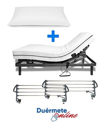 Duermete Online Cama Electrica Articulada Reforzada 5 Planos + Colchon Medic Visco + Almohada Tacto Sedoso + Barandillas, Gris, 105x190