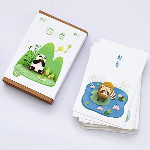 30 pcs/lot Four Seasons Collector Postcard Cartoon Animal Panda Monkey Greeting Card Christmas Birthday Message Card Gift Card