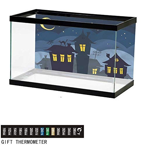 bybyhome Fish Tank Backdrop Halloween,Cartoon Town with Cat,Aquarium Background,48