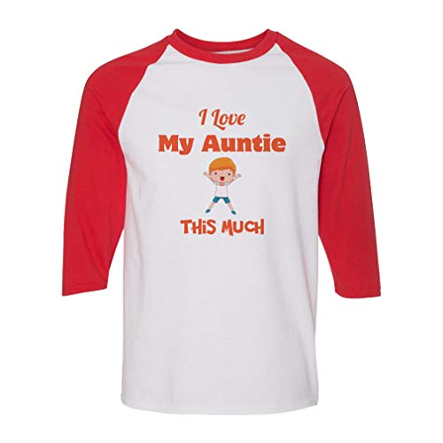 I Love My Auntie This Much Cotton/Polyester 3/4 Sleeve Crewneck Boys-Girls Toddler Raglan T-Shirt American Apparel - White Red, 4T