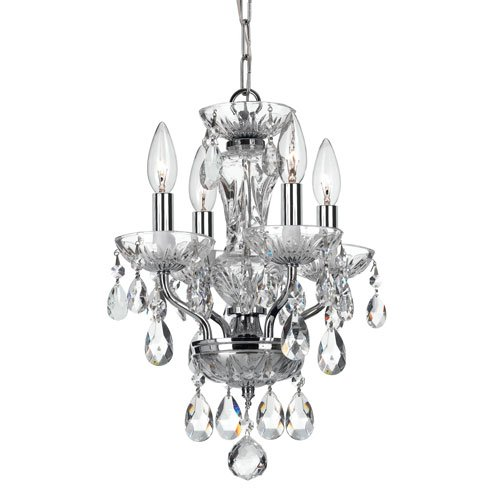 elight DESIGN ED07704CH Crystal 4 Light 11 inch Chrome Mini Chandelier Ceiling Light