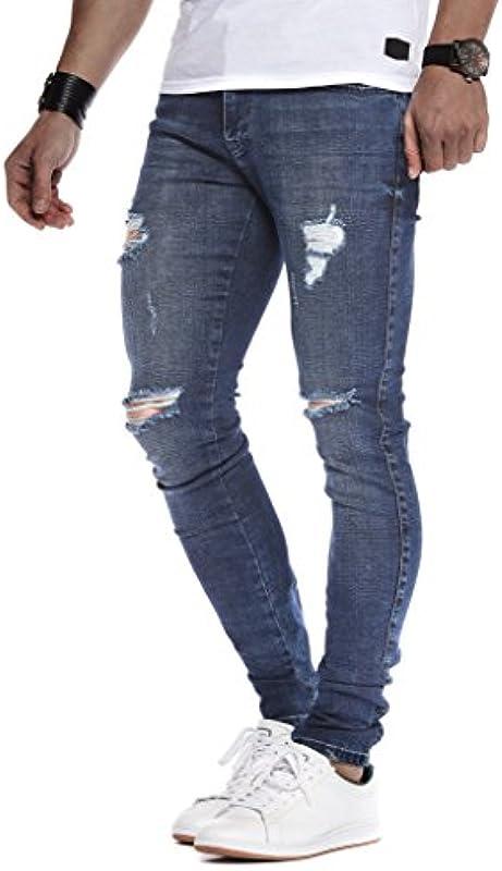 Leif Nelson Męskie dżinsy Slim Fit Denim niebieskie szare długie spodnie jeansowe dla mężczyzn cool chłopcÓw białe stretchowe spodnie cargo chinos lato zima Basic LN9150: Odzież