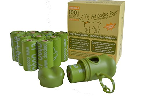 10 Rolls (100 Bags) Compostable, Biodegradable Pet Dog/Cat DooDoo Bags, ASTM D6400 / EN 13432 Approved, Free Dispenser Included