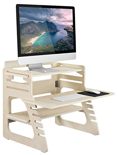 Mount-It! Wood Standing Desk, Ergonomic Height Adjustable Wooden Standing Desk Converter with Full Size Keyboard Tray and Organizer Shelf, Monitor and Keyboard Desk Riser with Storage ()