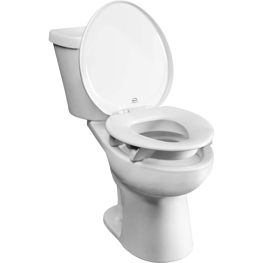 Bemis Independence 7YE85300TSS 000 Closed-Front Elevated/Raised Toilet Seat with 3'' Lift, Clean Shield Elongated, White by Bemis Independence