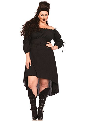 Leg Avenue Women's Plus-Size Plus High Low Peasant Dress Costume, Black, 1X/2X (Costumes With A Black Dress)