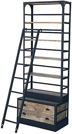 chemin_de_campaña - Biblioteca Industrial con Escalera y cajones (Madera de Hierro, 230 x 87 x 51 cm): Amazon.es: Hogar