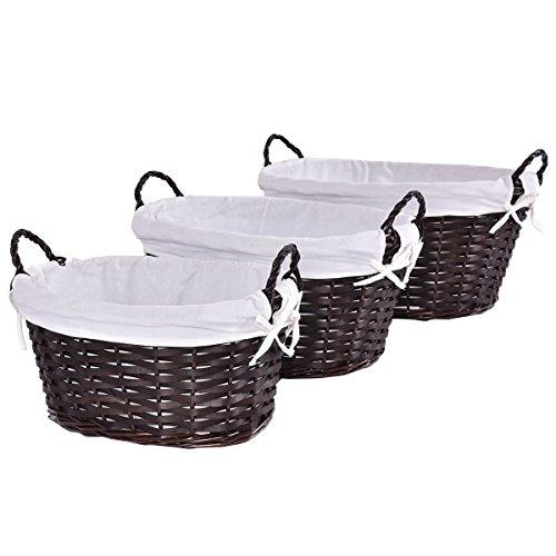 Brown Oval Hand-woven Willow Wicker Laundry/Linen Basket Multi Storage Set of 3 (Wicker Laundry Baskets Cheap)