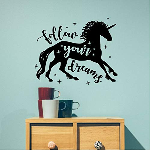 Unicorn Vinyl Wall Decals Follow Your Dreams Quote Wall Sticker Kids Room Nursery Decor Magical Unicorn Vinyl Wall Murals 71x57cm