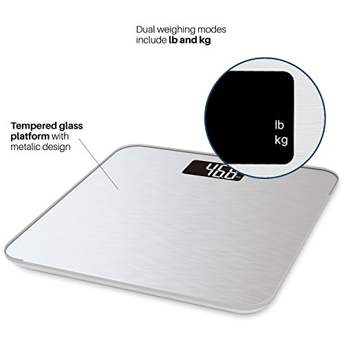 Smart Weight Bathroom Display,Precision Technology, Pounds,Silver