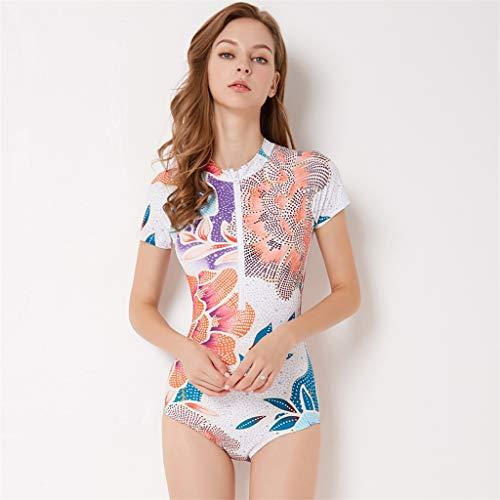 16222e22ee ... Iusun Women 's One Piece Wetsuit Short Sleeve Thin Zip Flower Printing  Siamese Swimwear Swim ...