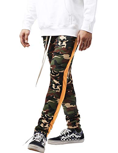 Mens Stripe Track Three Tone Pants Skinny Fit Stretch Casual Athletic Joggers (Large, tpt450b_Green camo/Orange) (Orange Camo Sweatpants Mens)