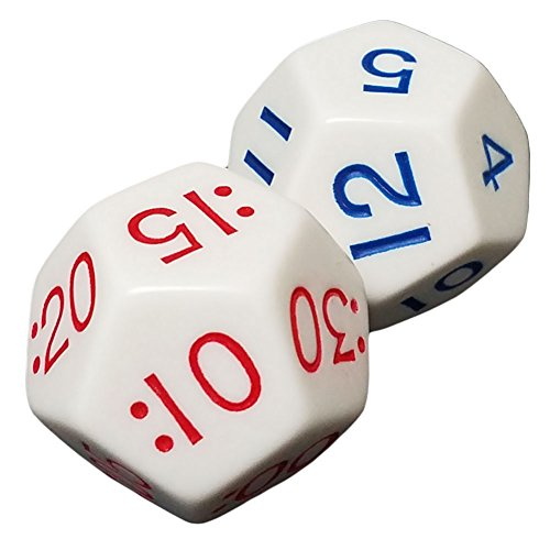 - Set of 2 Educational 12 Sided White Elapsed Time Dice in Snow Organza Bag
