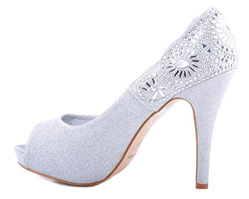 Plateado Brillantes Peep-Toe Detalle Diamante Zapatos de Plataforma Talones de Novia Zapatos de la Boda