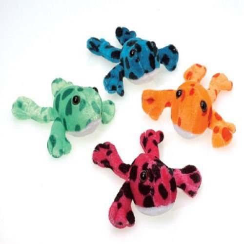 Assorted Color Plush Stuffed Animal Spotted Frogs (12)