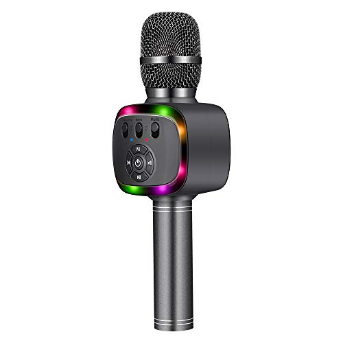 BONAOK Bluetooth Wireless Karaoke Microphone with Dual Sing, LED Lights, Portable Handheld Mic Speaker Machine for iPhone/Android/PC/Outdoor/Birthday/Home/Party(Space Gray)