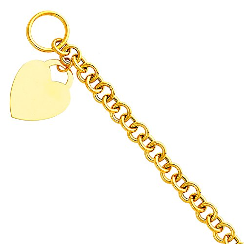 Wellingsale 14k Yellow Gold Polished Egravable Heart Tag Link Rolo Bracelet - (14k Heart Tag Bracelet)