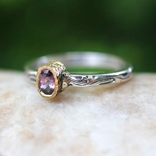 Dainty oval faceted pink spinel ring in 18k gold bezel setting with sterling silver in leaf design engraving band