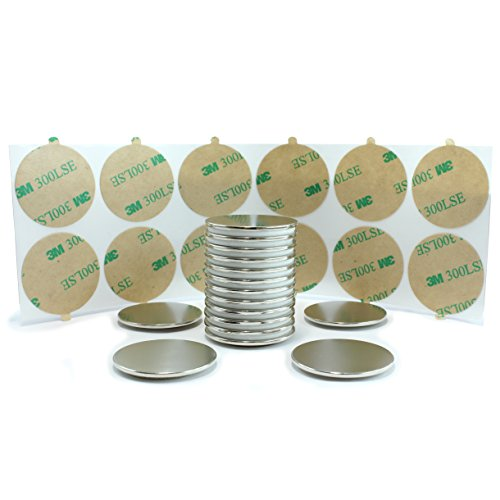 12-pack Premium Disc Magnets, Super Strong, for Fridge, Refrigerator, Scientific, Crafts, DIY, Hobby, Office, Household, School. Permanent Rare Earth Neodymium Grade N52, Triple Coated,(32mm x 1.5mm)
