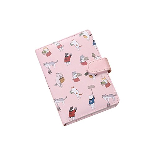 NUOLUX Portable Steno Memo Notebook MiniDaily Mini Diary NotePad Soft-covered Mini Notebook Fun Cat Notebook Journal Diary Ruled Pages (Pink)