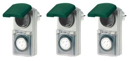 3er Set Zeitschaltuhr mechanisch IP44 16 A für Außen