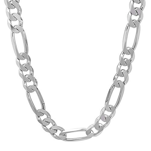 Silver Chains 8mm Figaro Link Solid .925 Sterling Necklace for Men and Women 16 inch - 30 inch (24)
