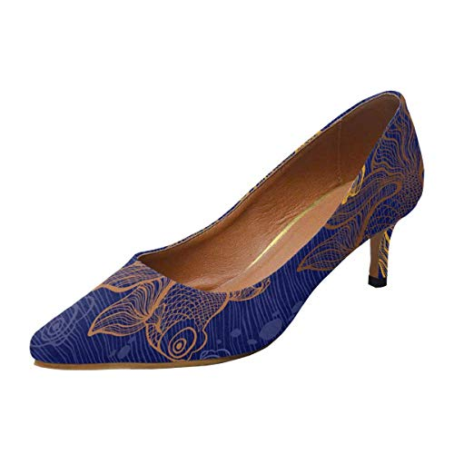 (INTERESTPRINT Women's Comfort Slip-on Pump Wedding Shoes Goldfish)