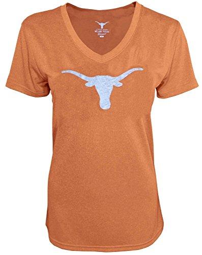 289c Ladies Texas Longhorns Tx Orange Worn Logo Silhouette V-Neck T Shirt (S=4-6)