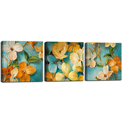 Biuteawal - Vintage Flower Painting Lily Floral on Teal Blue Background Picture Prints on Canvas Still Life Artwork for Kitchen Bedroom Decoration Ready to Hang (Vintage Centrepieces Flower)