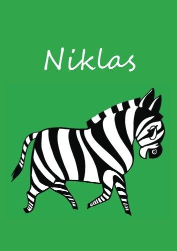 Malbuch/Notizbuch/Tagebuch - Niklas (dunkelgrün): DIN A4 - blanko - Zebra