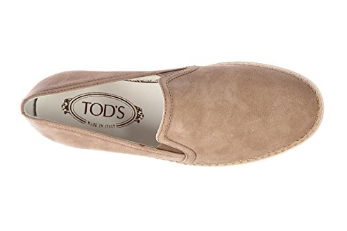 Tod's slip on donna in camoscio sneakers nuove originali hr0 beige