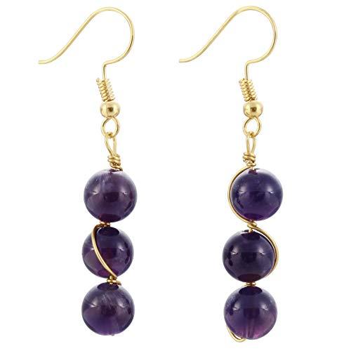 Earrings Amethyst Hook Drop (TUMBEELLUWA Stone Dangle Earrings Healing Crystal Beads Copper Wire Wrapped Hook Drop Earring Handmade Jewelry for Women,Amethyst)