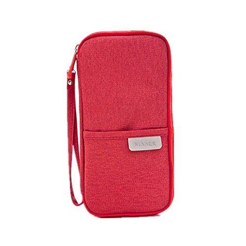 Multi-function Travel Passport Credit Id Card Cash Holder Organizer Wallet Purse Case Bag Water-proof Material Large Capacity For Men Women (winner red)