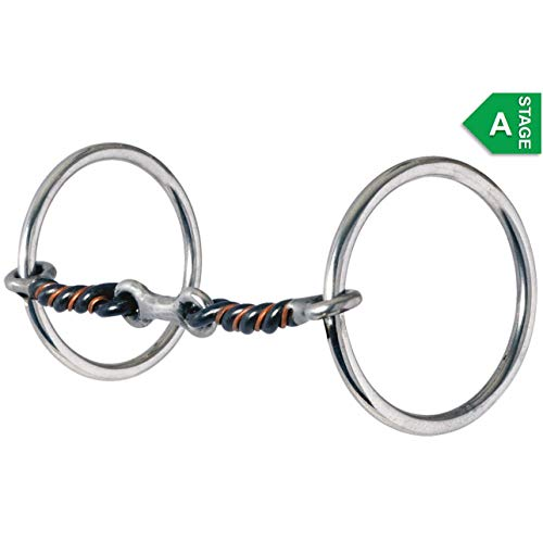 Twisted Wire Mouthpiece - Reinsman 171 Medium Loose Ring Snaffle with 3-Piece Sweet and Sour Dogbone; Stage A