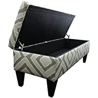 Sole Designs Nouvea Collection Upholstered Storage Bench with Built in Storage, 56x19x19 Platinum