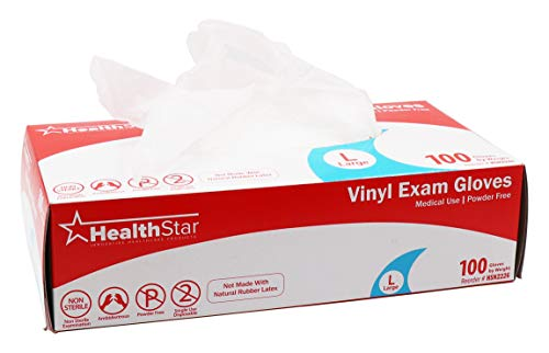 Healthstar Vinyl Medical Grade Exam Gloves, Medium, 100 Count | Precision Fit, Latex Free, Non Sterile, Powder Free, Clear Disposable Gloves for Single Use | Also for Food Service and Housekeeping ()
