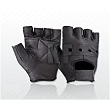 New Soft Leather Fingerless Mens Weight Training Gloves Black Cycling Wheelchair