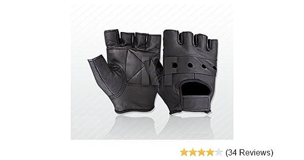 Leather Fingerless Mens Weight Training Cycling Wheelchair Driving Biking Glove